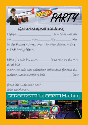 Einladung NERF Party in der Future Games World Manching