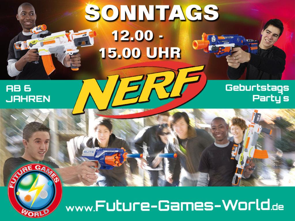 NERF PARTY - jeden Sonntag! Kommt zu uns in die größte NERF Arena zum NERF spielen ! Leihblaster gibt´s auch ;-) Gerne dürft Ihr eure Blaster von Nerf gerne mitbringen !