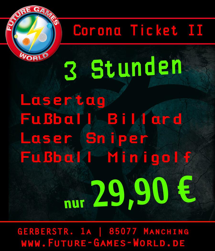 Corona Ticket: Mit unserem Corona Spezial Ticket könnt Ihr 4 Runden Lasertag spielen und  (je nach Verfügbarkeit)  VR, Fußball Billard oder Lasersniper spielen zum einmaligen Eintrittspreis von nur 29,90 €